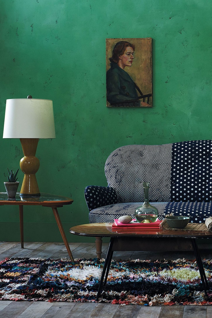 color and pattern and texture: Wall Colors, Kitchens Design, Wall Colour, Living Rooms, Polka Dots, Couch, Home Decor Ideas, Green Wall, Emeralds Green