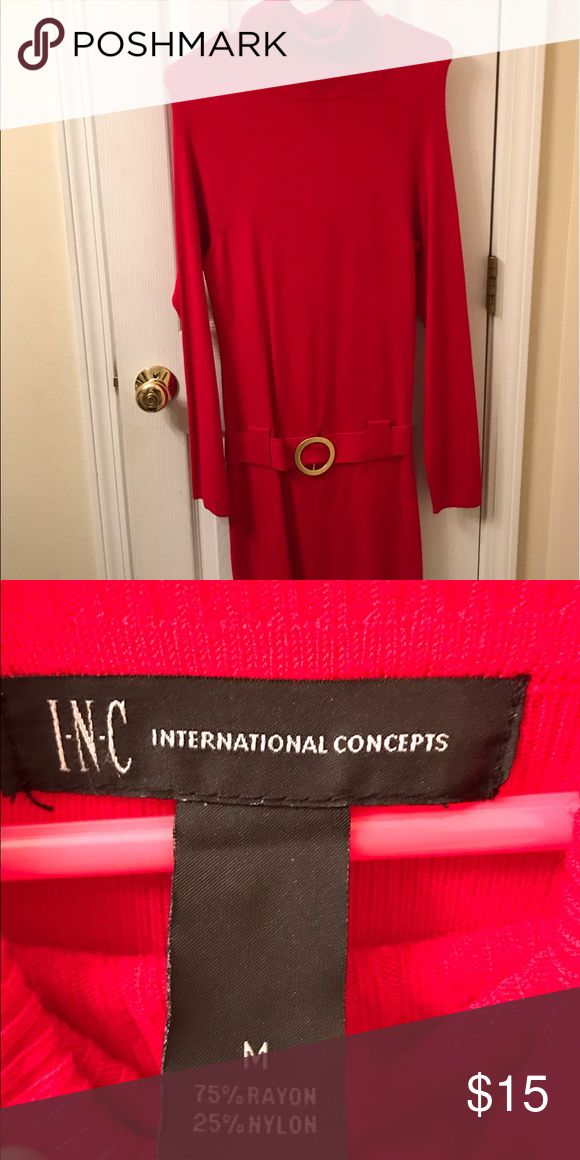 Red Hot Sweater Dress Red sweater dress with gold buckle INC International Concepts Dresses