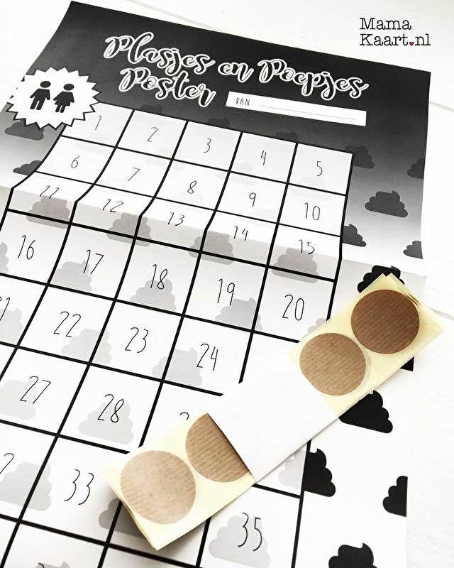Met deze poster wordt zindelijkheidstraining een feestje!  Voor ieder plasje of poepje op het potje of de wc mag jou kleine jongen of meid een sticker plakken! Bij een afgesproken aantal stickers kunnen jullie een beloning afspreken. Deze kun je op de poster schrijven.    Het is een mooie monochrome poster gedrukt op 135 grams papier  Formaat: 630 × 297 mm zigzag vouw tot A4 (3 liggende A4tjes onder elkaar)  Incl50 kraft stickers (dia. 35 mm) waar zelf een leuke boodschap op kan worden