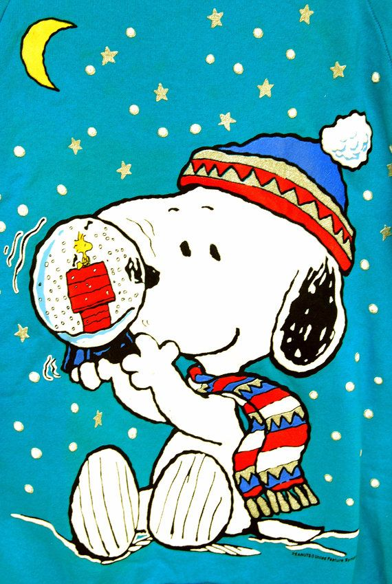 Vtg Snoopy Christmas Snowglobe Shirt Peanuts by RipCityRetro