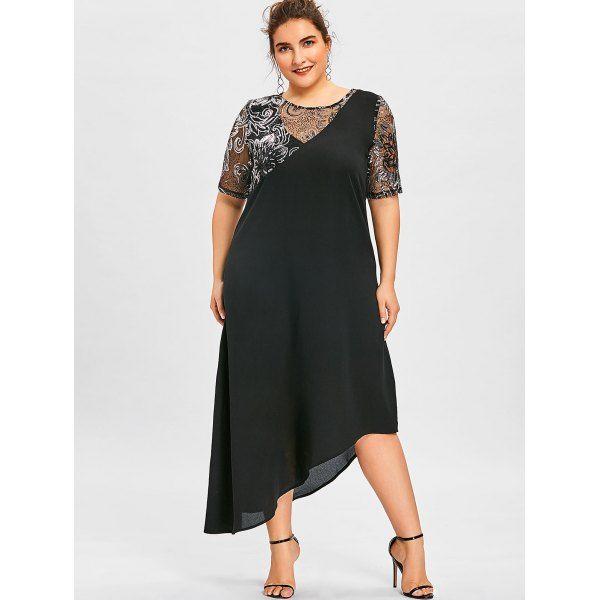 Wholesale Plus Size Sequined Asymmetric Maxi Dress 5xl Black ...