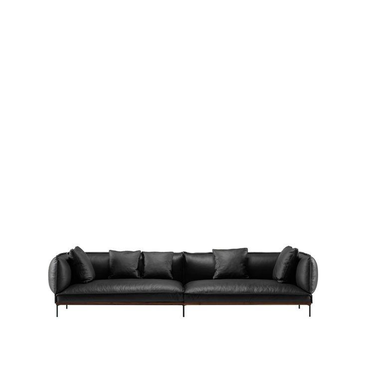 Jord soffa - Jord soffa - läder svart, 2,5 sits, underrede i valnöt