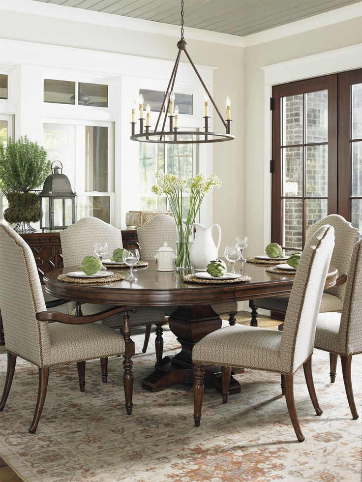 Use a round table instead of a rectangular table in your formal dining room and you guarantee that all your guests can visit easily and talk face to face, instead of having to break etiquette and shout across the table.  The round table can even transform to a grander scale with the optional addition of one, twenty- two inch table leaf, bringing the complete table to a 84 inch oval table when both leaves are added.