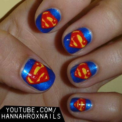 Superman Nail Art @CHANEL Cotto woulnt this be awesome with Batman