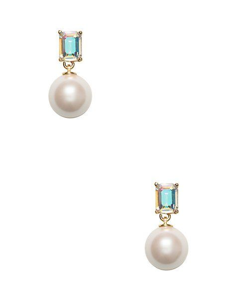 shine on emerald cut drop pearl earrings, ab