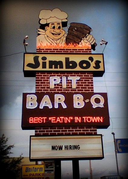 """Jimbo's Pit Bar B-Q, Best """"Eatin"""" In Town ~ Awesome Neon Sign....my favorite from Florida"""