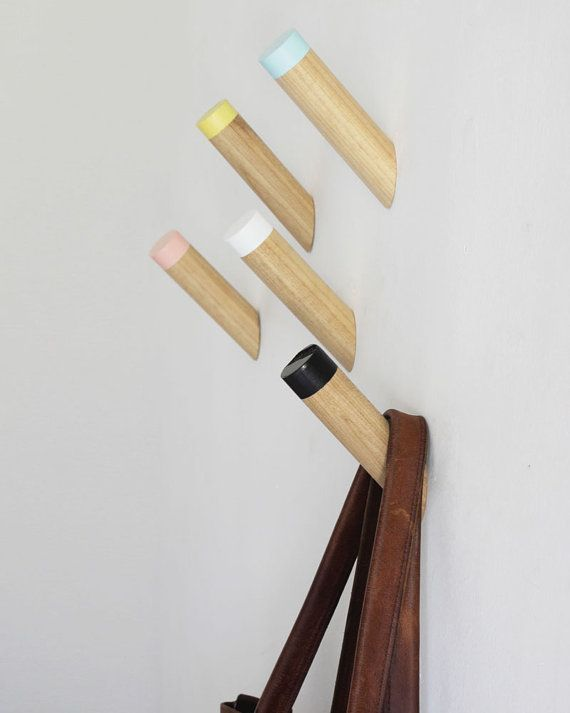 Entryway coat hooks wall hooks one wooden peg by loopdesignstudio white