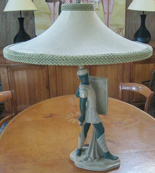 18 best reglor lamp shades images on pinterest lamp shades reglor of california ceramic lamp of a titan warrior with original shade and finial aloadofball Choice Image