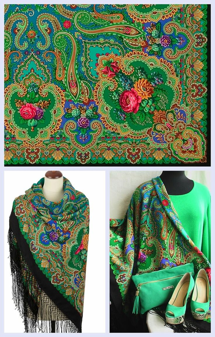 """Excited to share the latest addition to my #etsy shop: Evening Russian Pavlovo Posad Shawl Emerald Green Pashmina Scarf 58"""" #eveningshawl #russianshawlwrap #russianshawl http://etsy.me/2AH0chS"""