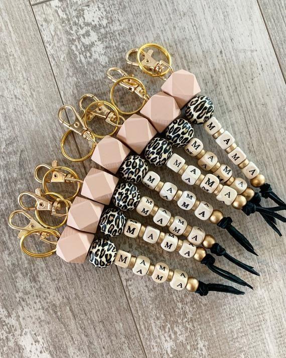 Beaded Bracelet Wood Bead Keychain Teacher Gift Leopard Keychain Keychain Gift Cheetah Keychain Keychain Bracelet Beaded Keychain