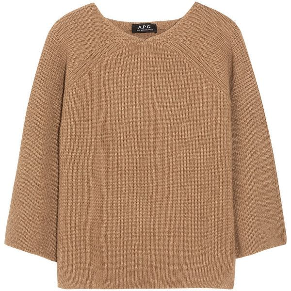 A.P.C. Atelier de Production et de Création Ribbed camel hair sweater found on Polyvore featuring tops, sweaters, layered crop top, brown crop top, beige sweater, cropped sweater and raglan top