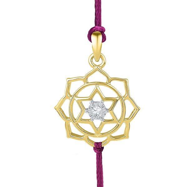 Jpearls 18kt Gold Sitara Diamond Rakhi cum Pendant   Gold and Diamond Raksha Bandhan #rakshabandhan #rakhigifts #jewellery #rakhis #brother #bracelet