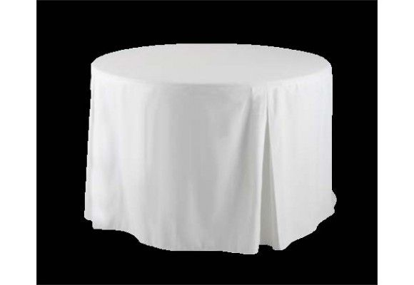 48 Round Fitted Tablecloth With Inverted Pleats Fitted