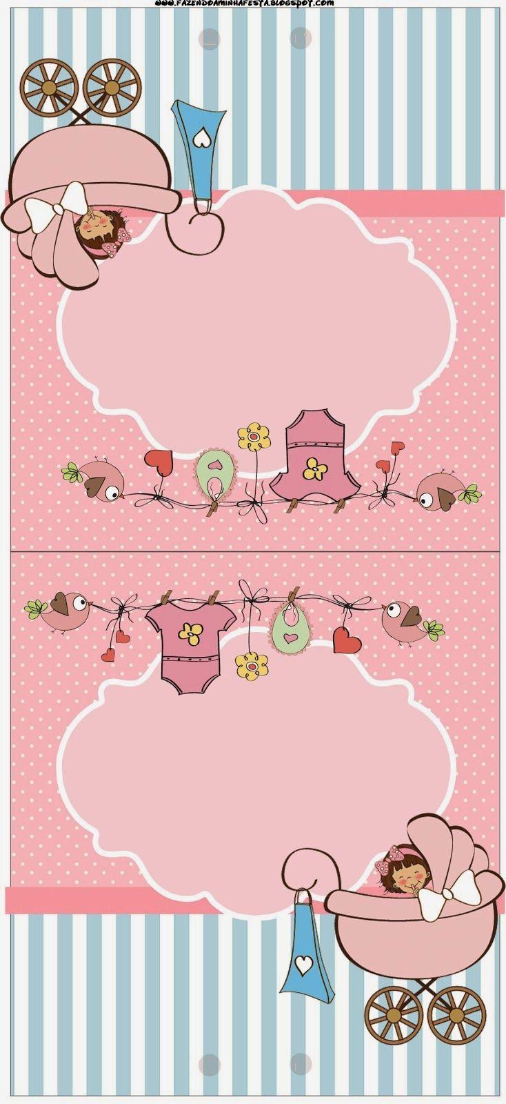 Cochecito Rosa de Bebé: Imprimibles Gratis para Fiestas.