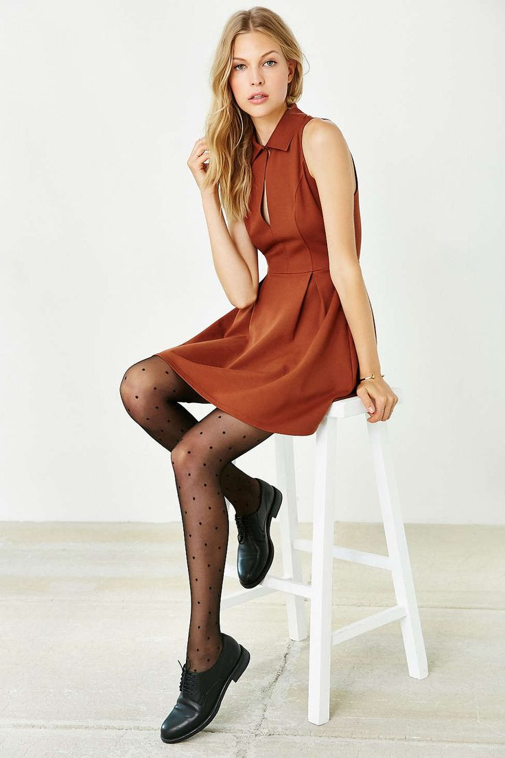 Cooperative Ponte Collared Keyhole Dress - Urban Outfitters