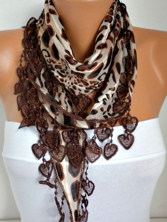 ON SALE  50 OFF  Brown  Leopard Scarf   Heart Scarf by fatwoman, $7.50