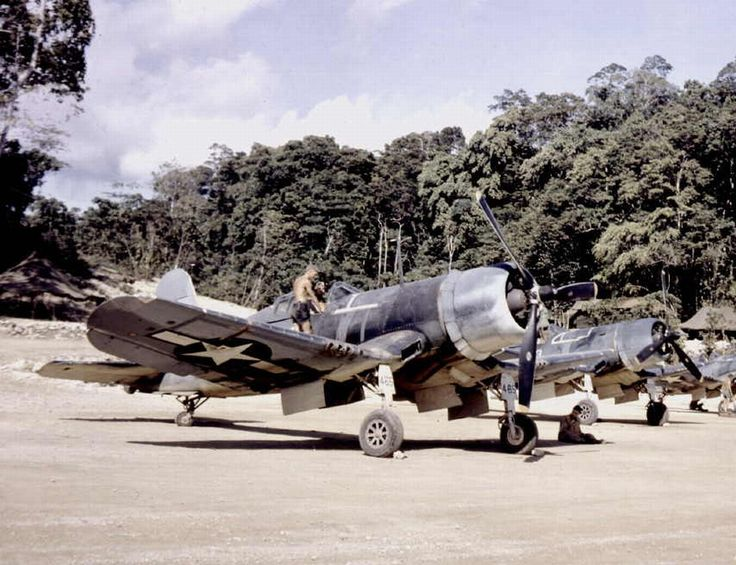 An F4U Corsair on Midway Atoll of Fighting Squadron 222 (VMF-222) of the United States Marine Corps