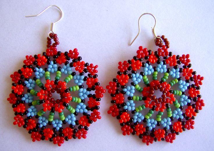 Huichol beaded earrings by Aramara on Etsy