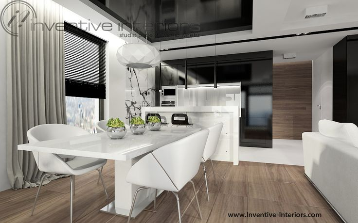 Projekt salonu z aneksem Inventive Interiors - biało czarna kuchnia z fototapetą