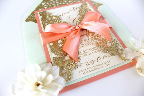 Wedding Invitation vintage coral mint and gold by AlexandriaLindo