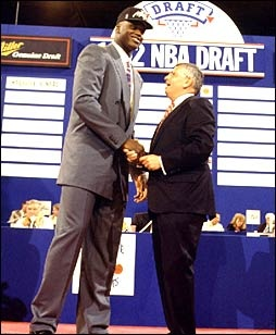 A slimmed down Shaquille O'Neal stepped into the NBA spotlight right away when he was selected No. 1 by the Magic in the 1992 NBA Draft.