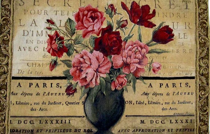 Paris Cabbage Rose Tulip Fl Tapestry Wall Hanging Decor 53 5 X 34 75 In Usa