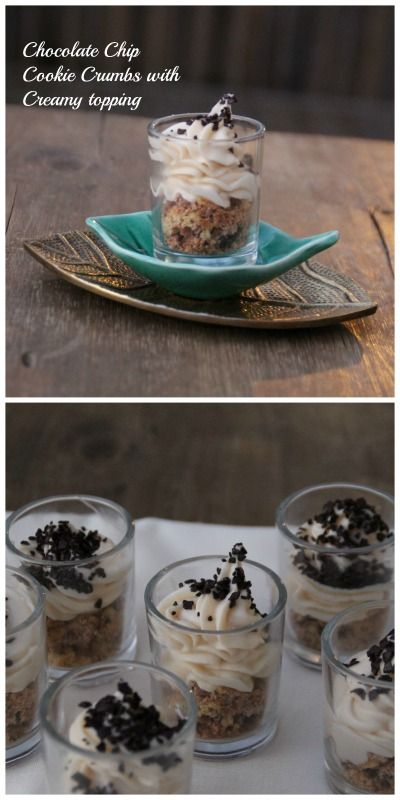 Absolutely delicious dessert, Chocolate Chip Cookie Crumbs with Creamy topping.