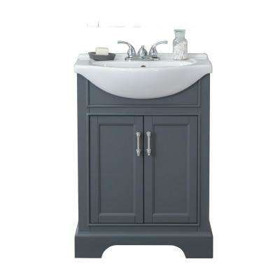 24 in W x 17 in D x 34 in H Bath Vanity in Gray with Ceramic