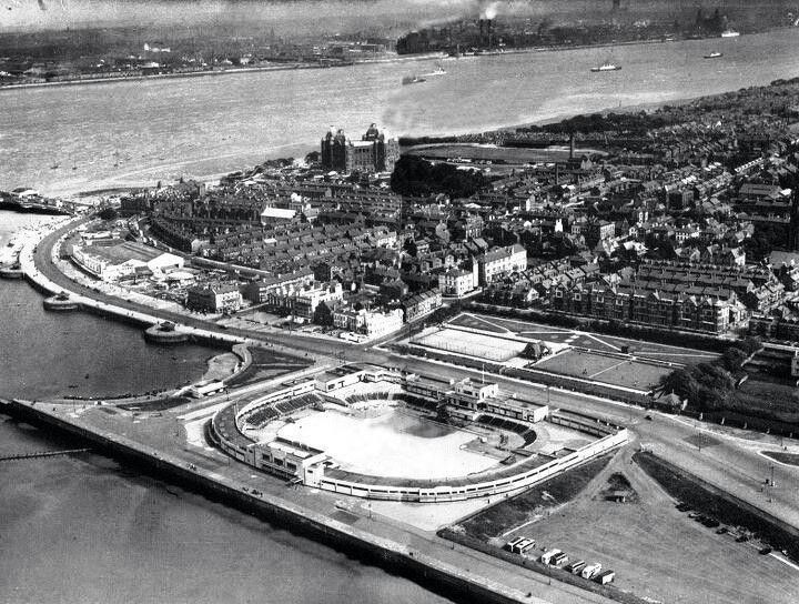 New Brighton - open air pool - to the left is the marina - Liverpool in the distance over the water.