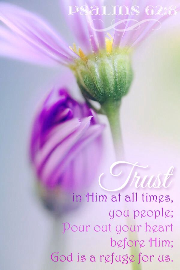 """""""Trust in him at all times; ye people, pour out your heart before him: God is a refuge for us. Selah."""" Psalm 62:8 KJV"""