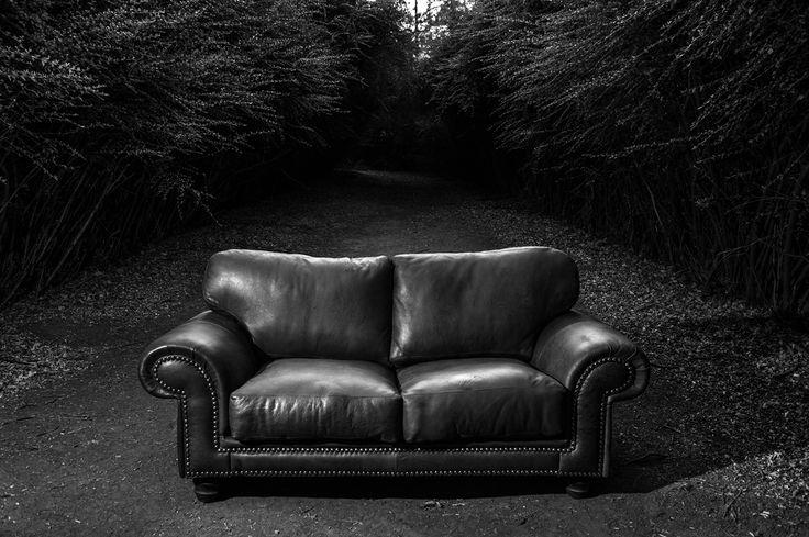 #Woodenways Luderitz 2 seater #couch in black & white photoshoot #kudu #leather #sofa