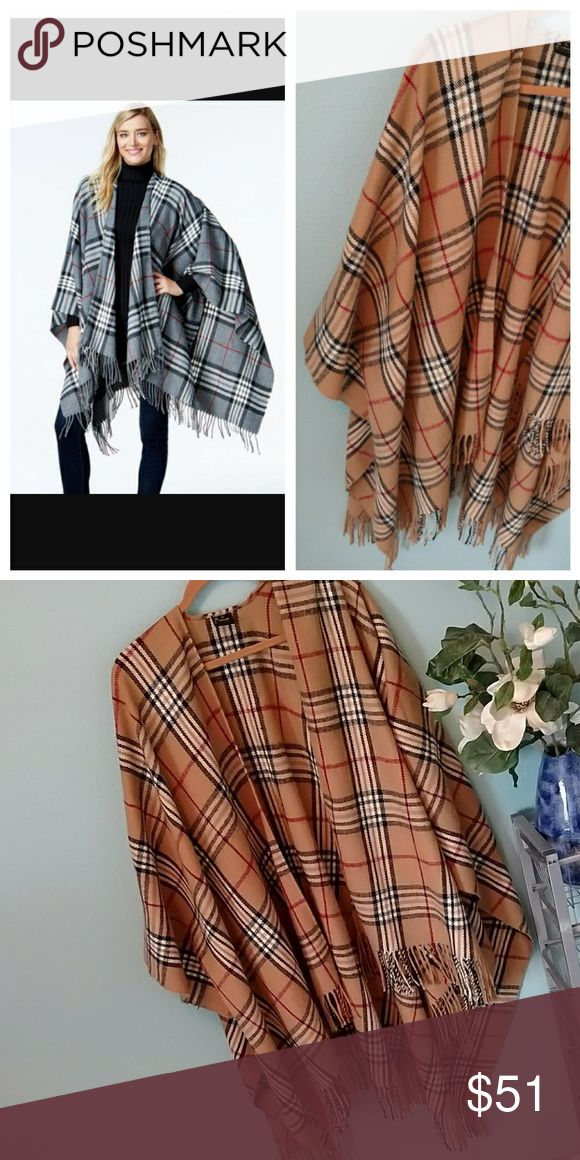 V.FRAAS Ruana Burberry Style Print Scarf Perfect condition, this ruana/poncho style scarf is the brown plaid/Burberry print, model/stock photo is the exact item in a different color to show fit. V.FRAAS Sweaters Shrugs & Ponchos