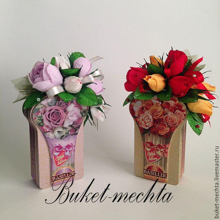 Купить Букет из конфет на баночке чая - подарок, день рождения, 8 марта, сувенир