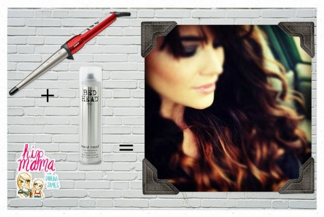 """""""magical curling wand"""" + Bed Head's Hard Head hairspray = curls in normally thick and staight hair.  Hip mama. com from Parenting.com"""