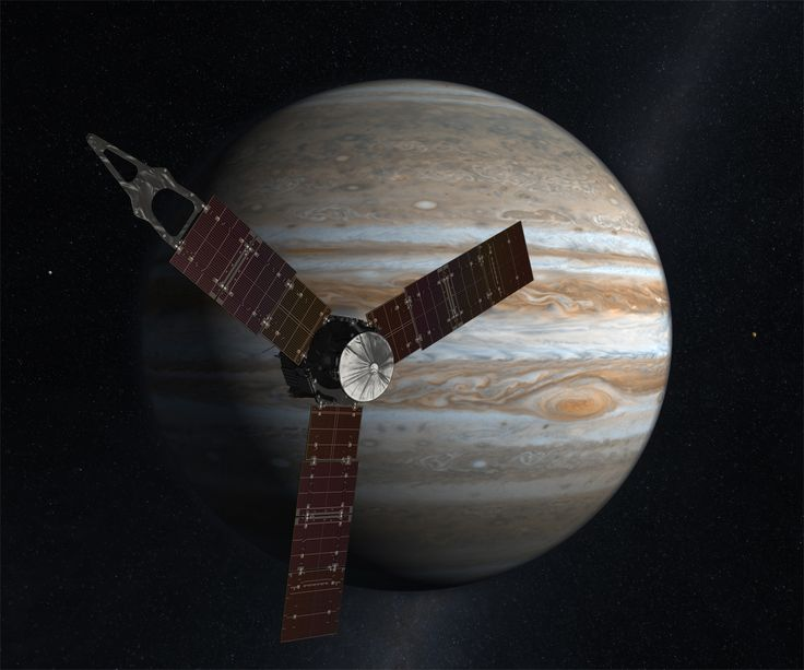 Juno Spacecraft passing in front of Jupiter (artist's depiction).: Nasa, Final Frontier, Outer Space, Juno Spacecraft, Jupiter, Earth, Artist, Science