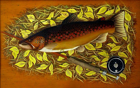 Brown Trout with Fly Rod brown trout trout paintings trout