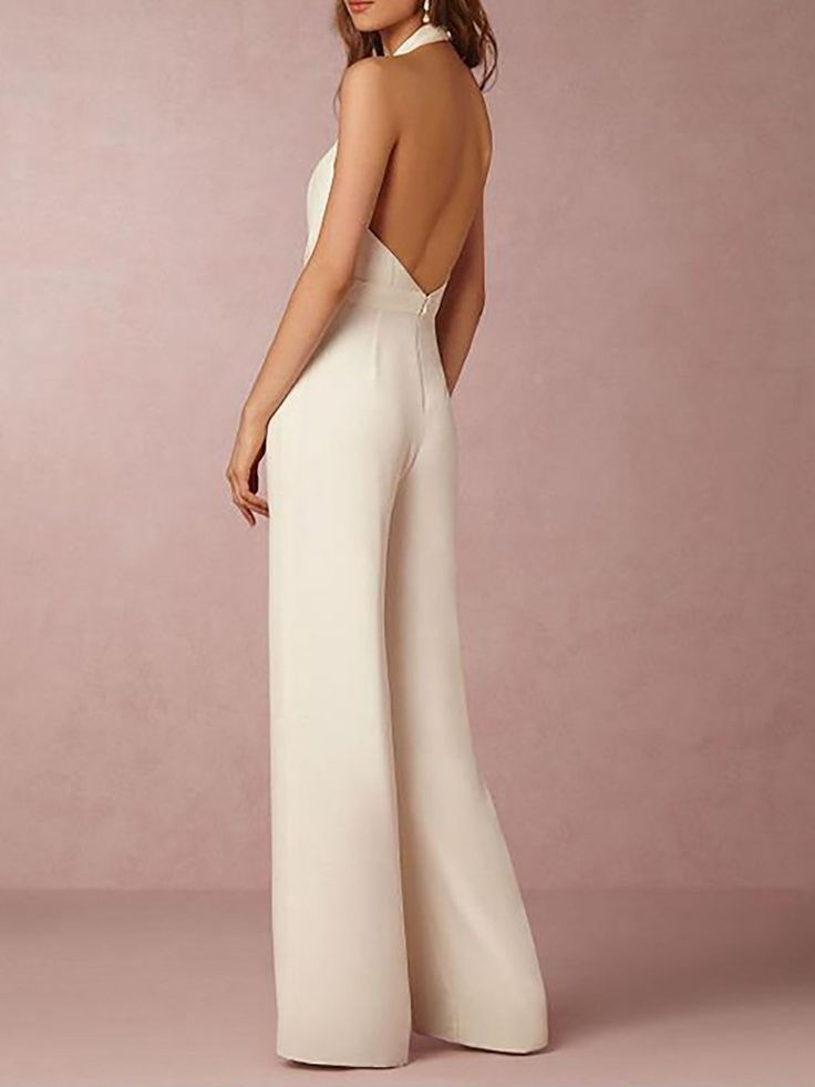 Women Jumpsuit Halter Casual Cotton-blend Sleeveless