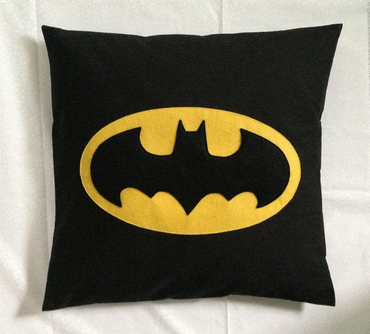 Batman - Black Yellow Retro Superhero Cushion Pillow Cover with a Felt Design Kids Children's Boys Bedroom by BeUniqueBaby on Etsy
