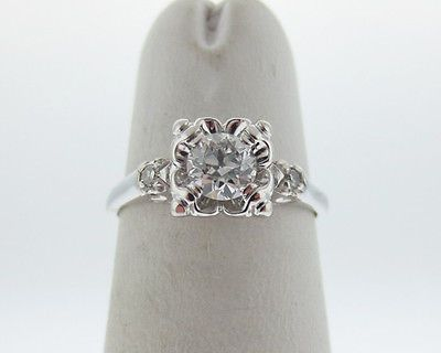 Round White Gold Solitaire With Accents Diamond Engagement Rings