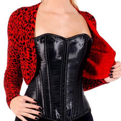 Red bolero with leopard print from Banned. Vintage, rockabilly Bolero luipaard rood - Glamrock http://www.attitudeholland.nl/haar/kleding/truien-vesten/bolero-luipaard-rood-glamrock/