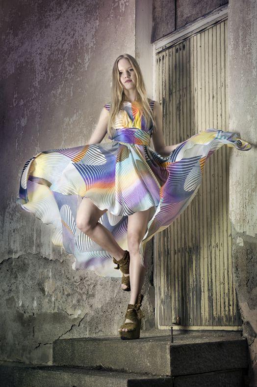 Dead Birds & Lionheart, D14C Rainbow dress, http://www.deadbirdslionheart.fi/ #deadbirdslionheart #dress #gown #colorful #rainbow