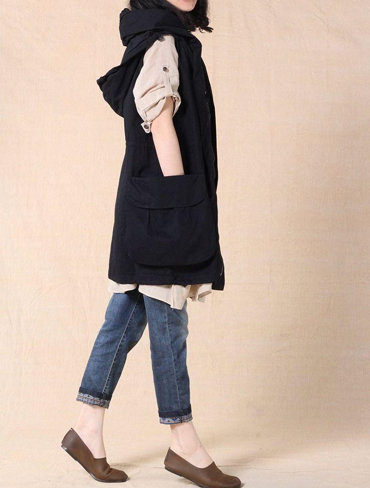 Mordenmiss Women's Sleeveless Coat Vest Hoodie Waistcoat Anoraks with Big Pockets Style 1 M Black at Amazon Women's Coats Shop