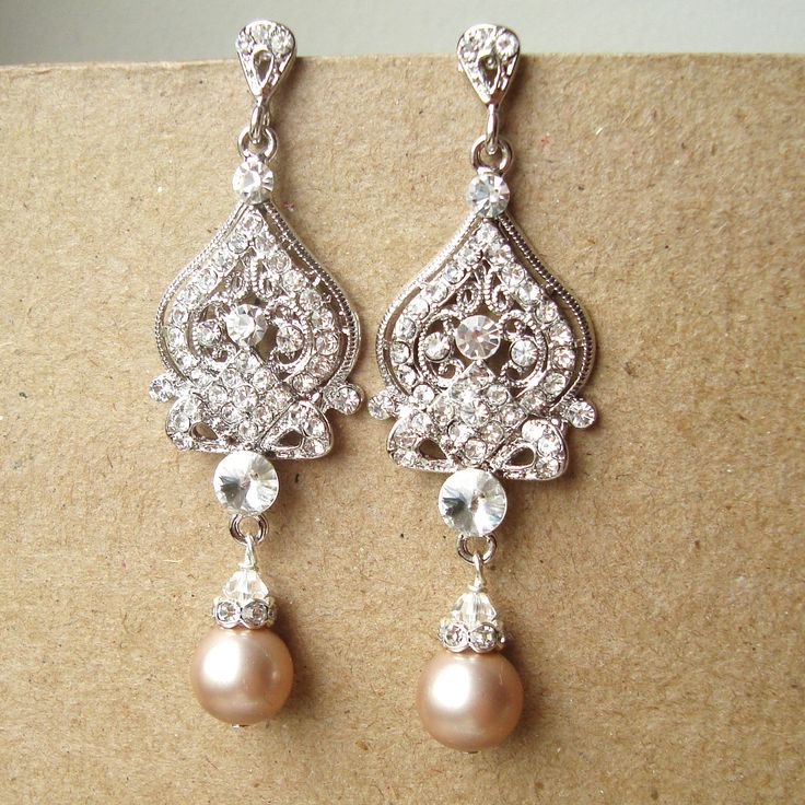 Champagne Bridal Wedding Earrings, Silver Filigree Chandelier Bridal Earrings,Vintage Inspired Wedding Bridal Jewelry, JACQUELINE. $65.00, via Etsy.