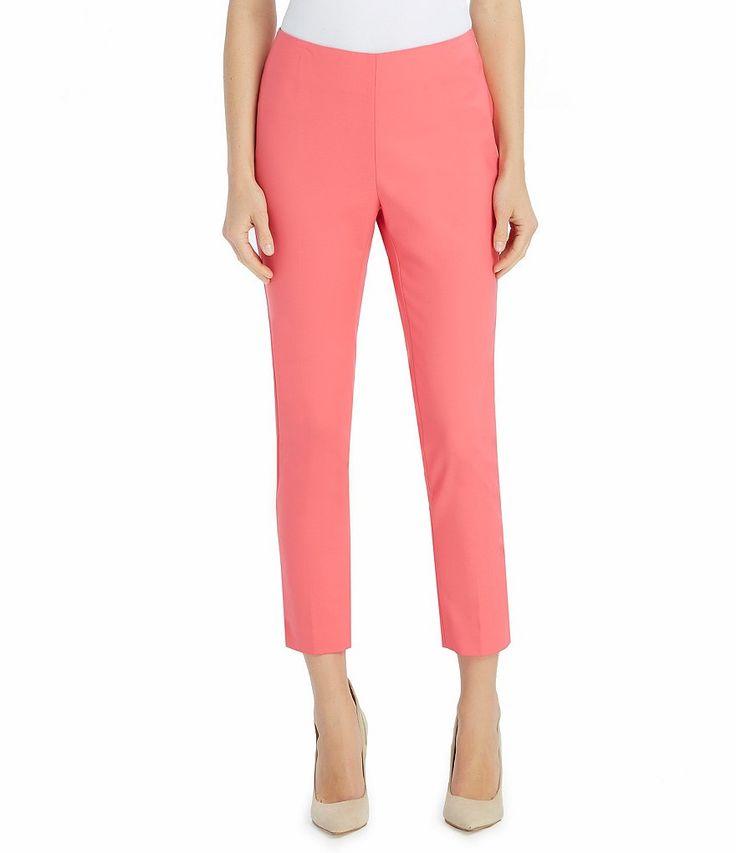 Ellen Tracy Stretch Cotton Side Zip Ankle Pants