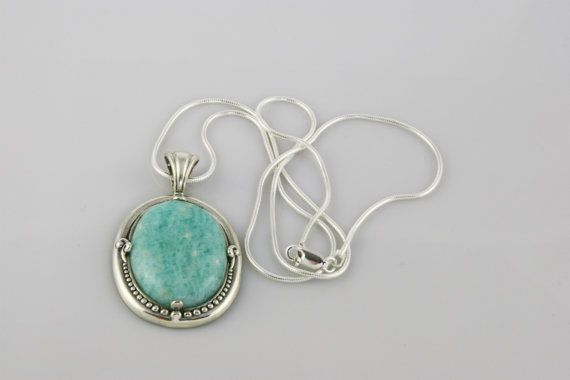 Turquoise Amazonite Stone Pendant in Sterling Silver Setting on Sterling Silver Snake Chain $55+ USD Only 1 available  #amazonitependant #stonependant #sterlingsilver #turquoisependant #amazonitejewelry