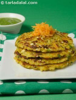 Cooked Rice Pancakes ( Healthy Breakfast) recipe   by Tarla Dalal   Tarladalal.com   #4681