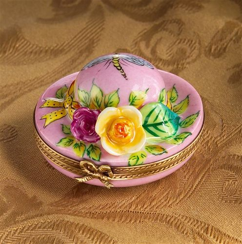 Limoges Pink Hat with Roses Trinket Box.