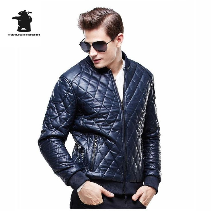 New Mens Quilted Jacket 2015 Winter Fashion V Neck Thick Fleece Plaid Leather Coats Plus Size PU Leather Jackets For Men DB8F611