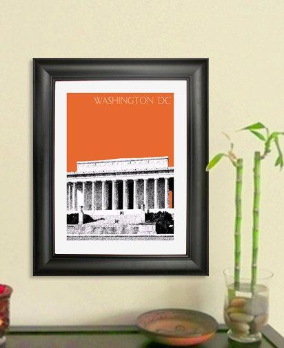 Lincoln Memorial Skyline Poster - Washington DC City Skyline - Art Print - 8 x 10 Choose Your Color. $20.00, via Etsy.