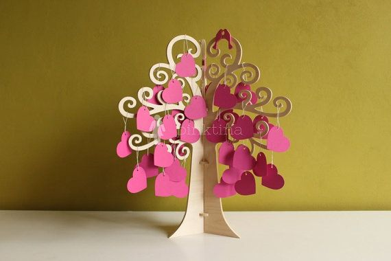 Wedding Wish Tree Wedding Guest Book Wooden Tree by PinkTina